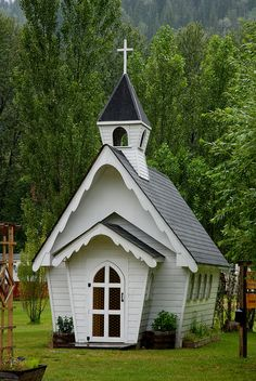 "Shuswap Tiny Church  ~    This tiny church located in Shuswap, BC, is a functioning church that seats 8.   {All you need is, ""two or more, gathered in his name"" so this tiny church is just big enough."