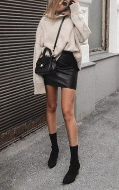 Black Leather Skirt Oversize Knit Sock Boots Outfit Ideas Autumn/Winter 2019 Sty… - Name. Sock Boots Outfit, Winter Boots Outfits, Winter Skirt Outfit, Fall Outfits, Black Sock Boots, Black Socks, Black Leather Skirt Outfits, Leather Mini Skirts, Black Mini Skirt Outfit