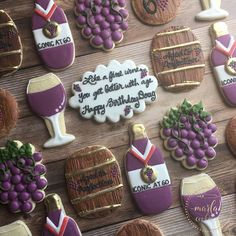 You can't buy happiness, but you can buy wine & cookies and that's kind of the same thing. 💜 . . . . Wine Barrel Cutter by @trulymadplastics All others by @cutmycookie #MarlasCookieCo #Cookieologist #DecoratedCookies #SugarCookies #RoyalIcing #CustomCookies #BirthdayCookies #CookieArt #CookieArtist #EdibleArt #Wine #WineCookies #WineLover #Love #Baking #Events #PascoWA #KennewickWA #RichlandWA #TriCitiesWA Wine Cookies, Iced Sugar Cookies, Cupcake Cookies, Cupcakes, Cookie Arrangements, Royal Icing Decorated Cookies, Watermelon Cookies, Birthday Cookies, 50 Birthday