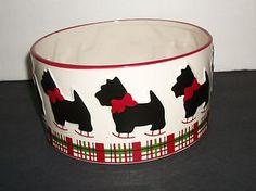 Christmas Scottie Scottie Dog Food Bowl Global Design Connections Kate Williams   eBay