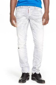 DSQUARED2 Ripped & Repaired Slim Fit Jeans (Grey). #dsquared2 #cloth #pant