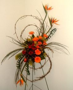 PICTURES OF FUNERAL SPRAYS | Majestic Bird of Paradise Standing Funeral Spray