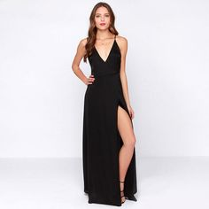 Black V-neck Cross Strap Back Maxi Dress with Side Slit