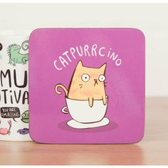 Katie Abey Design Catpurrcino Coaster ($4.23) ❤ liked on Polyvore featuring home, kitchen & dining, bar tools, cat coasters and coffee coasters