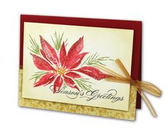 Season's Greetings Poinsettia Card - click through for project instructions.