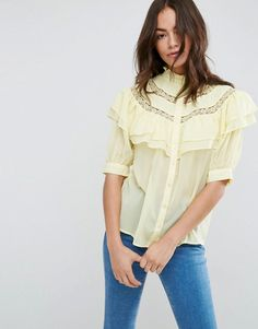 ASOS Short Sleeved Blouse with Ruffle and Lace Insert
