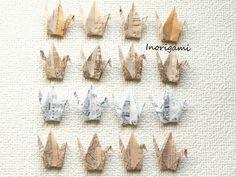 1000 Origami 3 Cranes  Senba-zuru / Old Paper Design by Inorigami