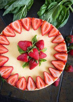 Strawberry Goat Cheese Cheesecake with Basil & Balsamic