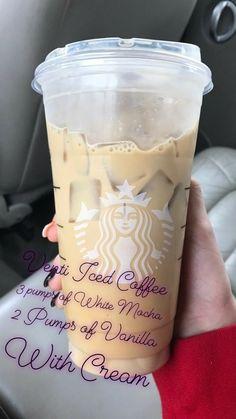 Starbucks Diy, Bebidas Do Starbucks, Healthy Starbucks Drinks, Starbucks Secret Menu Drinks, Iced Coffee Drinks, How To Order Starbucks, Coffee Drink Recipes, Starbucks Frozen Drinks, Starbucks Vanilla Iced Coffee