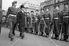 The Annual Commemorative Easter Army Parade. President Eamon de Valera, accompanied by Captain Daniel O'Connell, inspecting the Guard of Honour at the G. prior to the commencement of the Daniel O'connell, Irish Costumes, Irish Traditions, History Photos, Photo Archive, More Photos, Presidents, Army, Military
