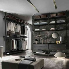 The best of luxury closet design in a selection curated by Boca do Lobo to inspire interior designers looking to finish their projects. Discover unique walk-in closet setups by the best furniture makers out there. Dressing Room Closet, Dressing Room Design, Wardrobe Closet, Closet Bedroom, Home Bedroom, Dressing Rooms, Folding Wardrobe, Home Design, Decor Interior Design