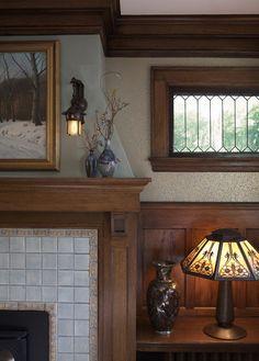 Arts & Crafts Fireplace traditional family room, Bradbury & Bradbury wallpaper Simple but nice design for window. Craftsman Home Decor, Craftsman Living Rooms, Craftsman Fireplace, Craftsman Interior, Craftsman Style Homes, Craftsman Style Interiors, Craftsman Windows, Craftsman Style Furniture, Fireplace Drawing