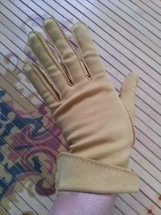 Vintage 1950s Gloves Mustard Yellow Cuffed Size 7 8 2014526 - pinned by pin4etsy.com