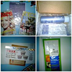 Recent freebies: full size Roux Anti-Aging Keratin Repair Conditioner, Zarbee's sample, coupon for a free Plenti Greek Yogurt, Marie Claire issue, Elle Decor issue and Allure issue.