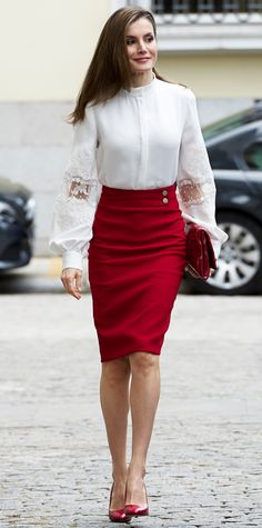 Look of the Day - Queen Letizia of Spain from InStyle.com Queen Letizia of Spain gave us major workwear inspo in this gorgeous red pencil skirt teamed with an elegant blouse featuring voluminous sleeves with delicate sheer detailing. A charming pair of pumps and a matching clutch finished the look.