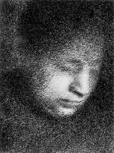 Georges Seurat:Madame Seurat Reading1883 - Conté crayon  mudwerks sealmaiden