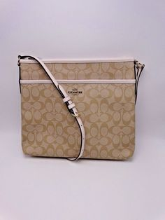 COACH SIGNATURE FILE BAG F58297 KHAKI   CHALK NEW WITH TAGS MSRP  225  COACH   ShoulderBag cc58e38edc