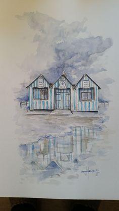 cabane de plage nrmandie (Peinture),  45,5x30,5 cm par yvan-houis aquarelle 100% coton