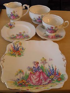 Art Deco Bell Fine Bone China Teacups,saucers,plates,sandwich plate,bowl and jug crinoline ladies