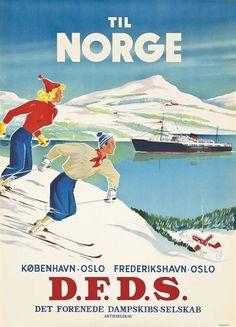 Til Norge, Norway Vintage Travel Poster - Poster Paper, Sticker or Canvas Print / Gift Idea / Wall Decor Vintage Ski Posters, Retro Poster, Poster Poster, Vintage Prints, Stations De Ski, Steam Boats, Vintage Boats, Bus Travel, Travel Tips