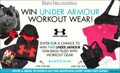 You should enter Under Armour Workout Wear Sweepstakes. There are great prizes and I think one of us could win!