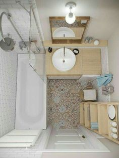 Patch tiles + whites + birch/bamboo. bathroom design for small interior area