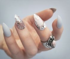 Soft pink & matte grey with crystals