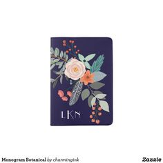 Monogram Botanical Passport Holder A colorful spray of graphic botanical flowers decorate this passport holder cover and it can be personalized with three monogram initials. The background is a rich navy blue.