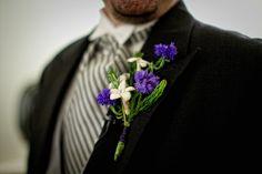 prett, rustic purple white boutonniere