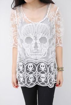 White Long Sleeve Skull Embroidery Hollow Lace Blouse - Sheinside.com