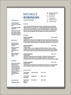 Immediately download this Free Assistant Manager resume template. It is in Microsoft Word (DOC) format, easy to edit, printable and can be fully customised. Ideal for any General, Restaurant, IT, Project or Senior jobs. #CV #template #Resume #Free #Job #application #MS #Word #General #Restaurant Cv Resume Template, Resume Format, Resume Cv, Assistant Manager, Manager Resume, Senior Jobs, Any Job, Word Doc, Microsoft Word