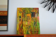 Abstract painting on board/ by MOISHE 1971 by RetroDromme on Etsy