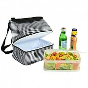 Houndstooth Lunch Cooler - This is a wonderful insulated lunch bag with room for containers, beverages, an ice pack if so desired, and of course the usual sandwiches! Just a terrific design. Comes in black or snappy houndstooth.