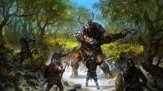 Des guerriers contre un géant
