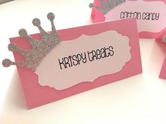 Princess Theme Placecards. Princess Placecard. Pink and White
