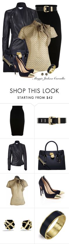"""""""Gold Toed Shoes & More Gold"""" by maggie-jackson-carvalho ❤ liked on Polyvore featuring Karen Millen, MICHAEL Michael Kors, Helmut Lang, Jerome C. Rousseau, David Yurman and Halcyon Days"""
