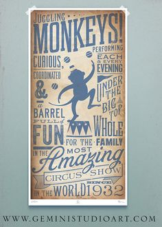 Circus Monkey vintage style childrens graphic artwork giclee archival signed artists print 10 x 20 by stephen fowler