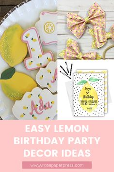 The best ideas for hosting a Lemon Birthday Party for kids. Lemonade Birthday Party ideas including invitations, cookies, outfits, and decorations. Kids Birthday Themes, Birthday Banners, Birthday Invitations Kids, 2nd Birthday Parties, Birthday Party Decorations, Birthday Celebration, Boy Birthday, Birthday Cookies, 1st Birthdays
