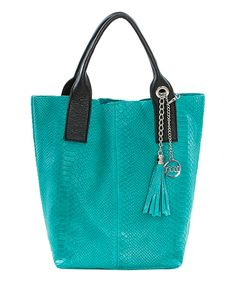 Look what I found on #zulily! Mia Tomazzi Turquoise Croc-Embossed Leather Tote & Wristlet by Mia Tomazzi #zulilyfinds