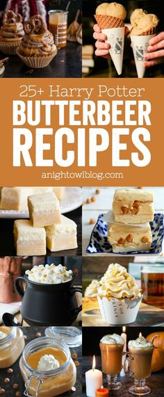 Check out this list of over 25 Harry Potter Butterbeer Recipes - from cookies to cupcakes - perfect for Harry Potter fans! Check out this list of over 25 Harry Potter Butterbeer Recipes - from cookies to cupcakes - perfect for Harry Potter fans! Harry Potter Food, Harry Potter Theme, Harry Potter Birthday, Harry Potter Butterbeer, Harry Potter Cupcakes, Harry Potter Drinks, Harry Potter Baking Recipes, Harry Potter Costumes, Sprinkles
