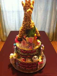 Girl Jungle Theme Diaper Cake by DivaDiapers on Etsy, $100.00