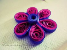 DIY Paper Quilling Tutorial - Pink and purple flower - YouTube