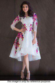 Bollywood Kajal Aggarwal Georgette Party Wear Dress In Off White Colour