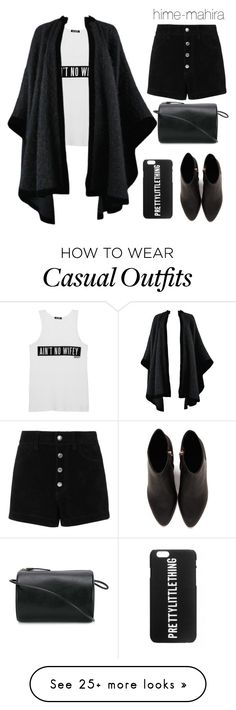 """Casual bnw style #1"" by hime-mahira on Polyvore featuring Yves Saint Laurent, rag & bone/JEAN, Alexander Wang and Building Block"
