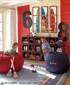 Split photo into 9 squares for playroom.  Looks great over the two sets of cubes (which may be our cheaper alternative to the PB set-up).