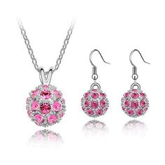 Swarovski Elements Red Crystal Gold Plated Disco Ball Earrings & Necklace Set In Amazon.com
