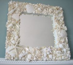 Beach Decor Seashell Mirror, Nautical Decor White Shell Mirror, Coastal Decor Seashell Wall Mirror, – Home Design Arts Seashell Frame, Seashell Art, Seashell Crafts, Beach Crafts, Starfish Mirror, Seashell Garland, Beach Mirror, Wall Mirror, Mirror Mirror