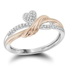 Roy Rose Jewelry 10K Two-tone Gold Womens Round Natural Diamond Heart Love Rose Fashion Band Ring 1/10-Carat tw