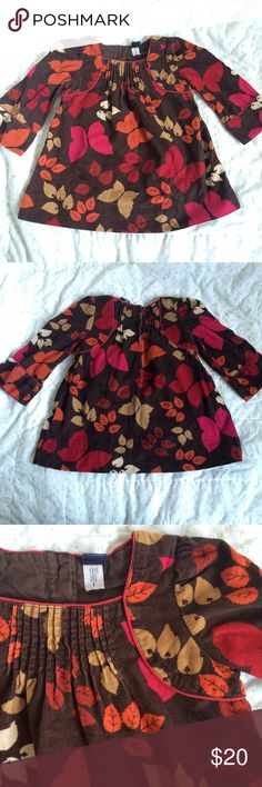 Gap fine wale corduroy printed dress Gap fine wale corduroy printed dress, dark brown with pink, orange and red floral/butterfly print. Sweet pintucked detailing at neckline. Perfect for Fall photos. Coordinating jacket available separately, bundle for discount on both. GAP Dresses Casual