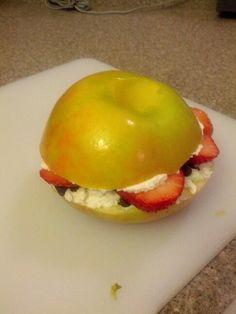 Strawberry-chocolate chip-apple sandwich